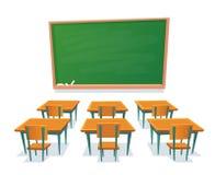 Skolasvart tavla och skrivbord Den tomma svart tavla, klassrumträskrivbordet och stol isolerade tecknad filmvektorillustrationen stock illustrationer