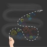 Skolasvart tavla, pil med färgrika kugghjul vektor illustrationer