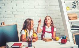 Skolatid av flickor Kamratskap av sm? systrar i klassrum p? kunskapsdagen Sm? flickor ?ter ?pplet p? lunchavbrottet royaltyfria bilder