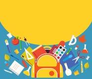 Skolatillförsel från ryggsäcken, mallen för baner planlägger royaltyfri illustrationer