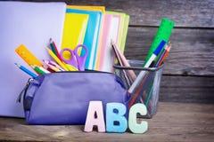 Skolatillförsel märkte abc:et Arkivfoton