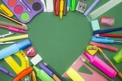 Skolatillförsel som hjärta Arkivfoton