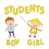 Skolaungar - gullig pojke och flicka Arkivbild