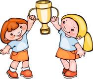 Skolaungar med koppen Royaltyfri Fotografi