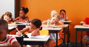 Skolaungar som gör deras läxa stock video