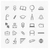 Skolauppsättning av symboler, vektorillustration Arkivfoton