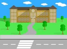 SKOLAVEKTORBYGGNAD OCH SCHOOLYARD Royaltyfri Foto