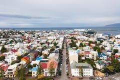 Skolavordustigur street and Midborg district. REYKJAVIC, ICELAND - SEPTEMBER 4, 2017: aerial view of Skolavordustigur street and Midborg district of Reykjavik Royalty Free Stock Photos