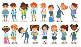 skolbarn av olika nationaliteter stock illustrationer