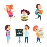 Skolbarn Dra tillbaka till isolerade skolatecken royaltyfri illustrationer