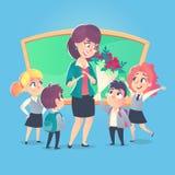 Skolbarn ger blommor till den lyckliga läraren i klassrum Dag för lärare` s tillbaka skola till royaltyfri illustrationer
