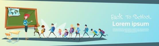 Skolbarn grupperar med banret för lärareClassroom Back To skolutbildning royaltyfri illustrationer