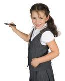 Skolbarn med markören som isoleras på vit Fotografering för Bildbyråer