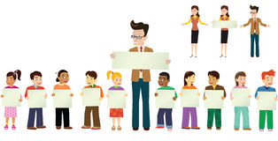 Skolbarn och lärare vektor illustrationer