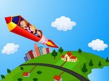 Skolbarn som tycker om blyertspennan Rocket Ride stock illustrationer