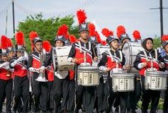 Skolbarnmarschmusikband under den Malaysia självständighetsdagen Royaltyfri Foto