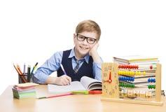 Skolbarnstudenter utbildning, elevpojke i exponeringsglas, unge Arkivbild