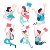 Skolbarnupps?ttning Samling av ungen som hoppar och har gyckel stock illustrationer