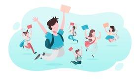 Skolbarnupps?ttning Samling av ungen som hoppar och har gyckel vektor illustrationer