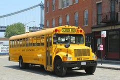 Skolbuss i Brooklyn Arkivbild
