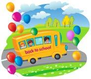 Skolbuss med barninflyttning vägen Isolerat på vit Ve Royaltyfri Illustrationer