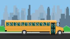 Skolbuss med gul färg- och stadsbakgrund stock illustrationer