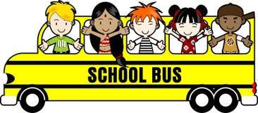 Skolbuss med ungar Fotografering för Bildbyråer