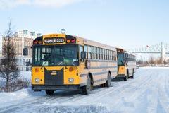 Skolbuss Montreal Fotografering för Bildbyråer