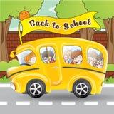 Skolbuss och student vid tecknad filmteckenet Royaltyfria Bilder