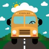 Skolbuss på vägen, tillbaka till skolan Tecknad filmwaterwall på vit bakgrund Royaltyfri Fotografi