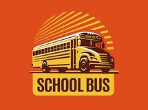 Skolbussillustration på ljus bakgrund, emblem stock illustrationer