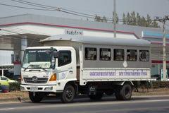 Skolbusslastbil av skolan för nordlig region för rullgardinen Arkivbild