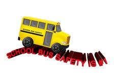 Skolbusssäkerhet är #1 - gula bussritter på den röda vägen för text 3D vektor illustrationer