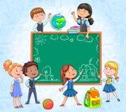 Skolförvaltning med gulliga barn runt om attraktion med krita vektor illustrationer