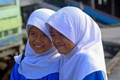 Skolflickor Borneo, Malaysia Fotografering för Bildbyråer