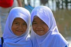 Skolflickor Borneo, Malaysia Royaltyfri Foto