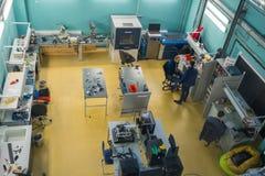 Modern industrial workplace interior in Skolkovo Technopark. Skolokovo, Russia - October 16, 2017: Modern industrial workplace interior in Skolkovo Technopark Stock Photo