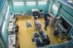 Modern industrial workplace interior in Skolkovo Technopark. Skolokovo, Russia - October 16, 2017: Modern industrial workplace interior in Skolkovo Technopark Royalty Free Stock Photos