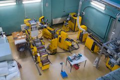 Modern industrial workplace interior in Skolkovo Technopark. Skolokovo, Russia - October 16, 2017: Modern industrial workplace interior in Skolkovo Technopark Royalty Free Stock Image