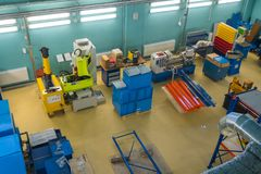 Modern industrial workplace interior in Skolkovo Technopark. Skolokovo, Russia - October 16, 2017: Modern industrial workplace interior in Skolkovo Technopark Stock Image