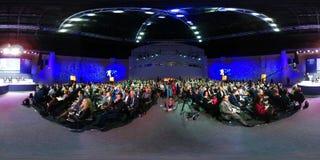 People attend Open Innovations 2017 forum. Skolokovo, Russia - October 16, 2017: People attend Open Innovations 2017 forum in new building Skolkovo Technopark Royalty Free Stock Photography