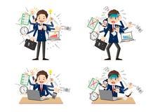 Skolpojke med mång- tasking och mång- expertis stock illustrationer