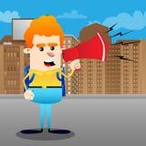 Skolpojkeinnehav och tala med en megafon royaltyfri illustrationer