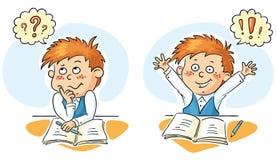 Skolpojken tänker och får en idé royaltyfri illustrationer