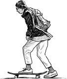 Skolpojkeritter på en skateboard royaltyfri illustrationer