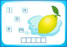 Skolutbildning Engelsk flashcard för att lära engelska Vi skriver namnen av grönsaker och frukter Ord är en pussellek för vektor illustrationer