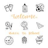 Skolutbildningklottret skissar symbolsuppsättningen Hand dragen vektorsymbolssamling tillbaka skola som ska välkomnas Arkivfoto