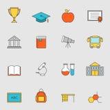 Skolutbildninglägenhetlinje symboler vol 3 Royaltyfria Foton