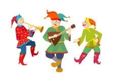 Skomoroh ruso del bufón con los instrumentos de música Fotografía de archivo libre de regalías
