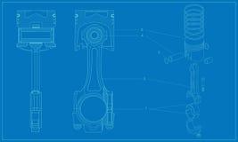 Skomplikowanej maszynerii techniczny tłokowy rysunek Fotografia Royalty Free